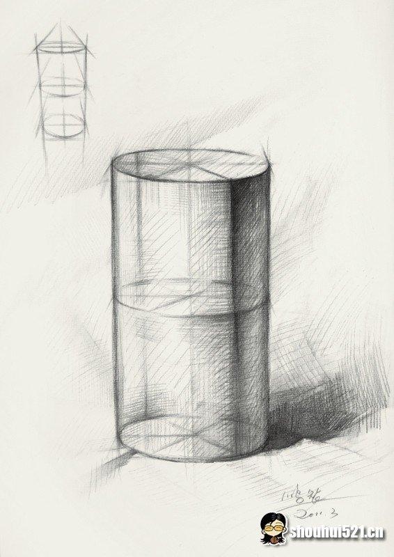 素描圆柱体手绘绘制讲解素材分享